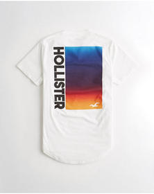 Hollister Ombré Curved Hem Graphic Tee, WHITE