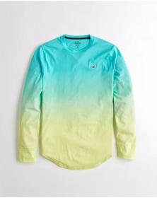 Hollister Ombré Crewneck T-Shirt, TURQUOISE TO YEL