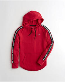 Hollister Logo Waffle Hooded T-Shirt, RED