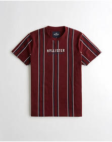 Hollister Embroidered Logo Graphic Tee, BURGUNDY S