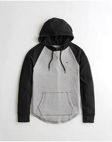 Hollister Waffle Hooded T-Shirt, BLACK AND HEATHER