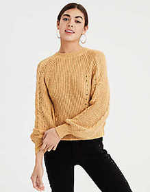 American Eagle AE Chunky Cable Knit Pullover Sweat