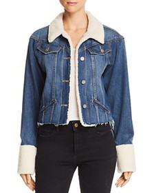 PAIGE - Tori Sherpa-Trimmed Denim Jacket in Monros