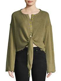 Free People Emmas Henley Tie Front Top MOSS