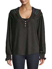 Free People Siesta Fiesta Top BLACK