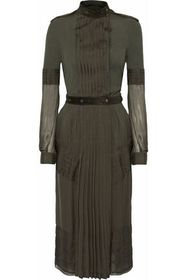 BELSTAFF Suede-trimmed pleated silk-voile and jers