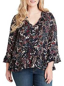 Jessica Simpson Plus Bronwyn Button Up Blouse BLUE