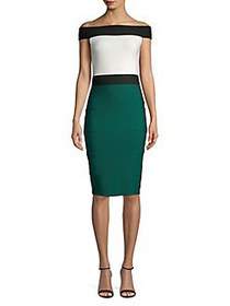 QUIZ Off-The-Shoulder Colorblock Sheath Dress GREE