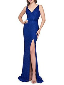 Mac Duggal Surplice Glitter Gown ROYAL