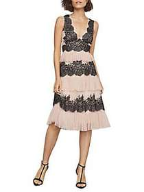 BCBGMAXAZRIA Floral Embroidered Fit-&-Flare Tulle