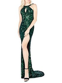 Mac Duggal Sequin Embellished Leg Slit Gown FOREST