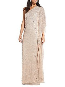 Adrianna Papell One Shoulder Beaded Gown CHAMPAGNE