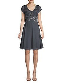 J Kara Embellished A-Line Dress GREY GUNMETAL