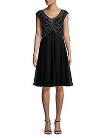 J Kara Beaded A-Line Dress BLACK