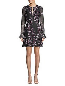 Cooper St Ruffled Floral Keyhole Dress BLACK PRINT