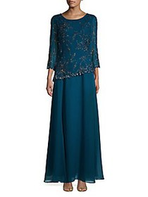 J Kara Embellished Pleated Gown TEAL