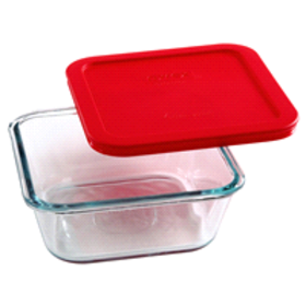 Pyrex 4 Cup Square Storage with Red Lid