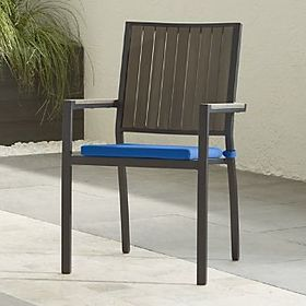 Crate Barrel Alfresco II Grey Dining Arm Chair wit