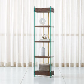 Crate Barrel Kenmare Wood and Glass Bookcase
