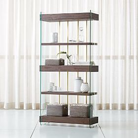 Crate Barrel Kenmare Wide Wood and Glass Bookcase