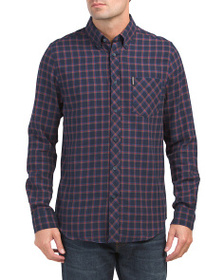 BEN SHERMAN Traditional Plaid Long Sleeve Top