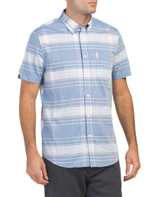 BEN SHERMAN Short Sleeve Plaid Woven Shirt