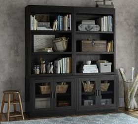 Pottery Barn Reynolds Open Bookcase with Glass Doo