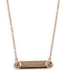 MICHAEL KORS Logo Plaque Pendant Necklace In Rose