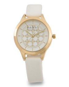 NICOLE MILLER Women's Patterned Dial Faux Leather