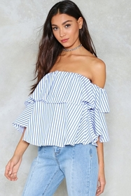 Nasty Gal Play Your Cards Stripe Off-the-Shoulder