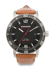 WENGER Men's Swiss Made Roadster Leather Strap Wat