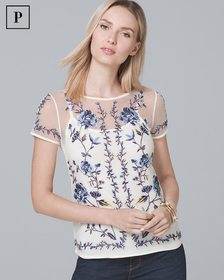 Petite Floral-Embroidered Mesh Tee