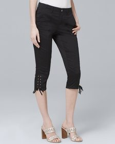 Lace-Up Detail Skinny Crop Jeans