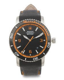 WENGER Men's Swiss Made Roadster Carbon Print Leat