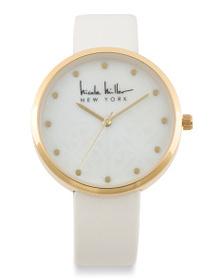 NICOLE MILLER Women's Mother Of Pearl Dial Faux Le