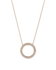 MICHAEL KORS Pave Open Circle Pendant Necklace In