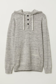 Hooded Sweater with Buttons