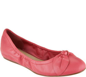 Isaac Mizrahi Live! Leather Flats with Bow Detail