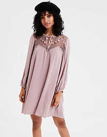 American Eagle AE Lacey Long Sleeve Swing Dress