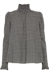 GOEN.J Ruffle-trimmed checked cotton blouse