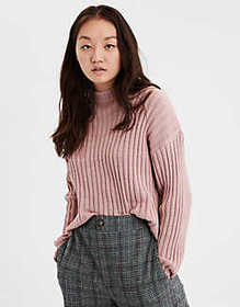 American Eagle AE Cropped Rib Knit Pullover Sweate