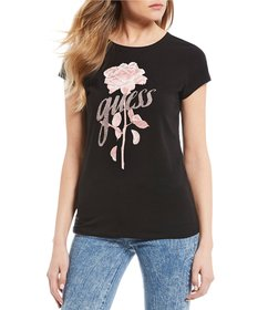 Guess Short Sleeve Flower Logo Graphic Tee