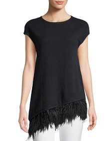 Neiman Marcus Cashmere Collection Ostrich-Feather