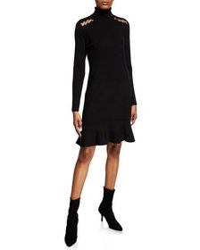 MICHAEL Michael Kors Turtleneck Flounce Long-Sleev