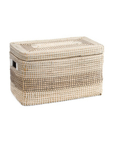MAX STUDIO Natural Seagrass Striped Trunk With Lid