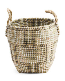 MAX STUDIO Small Natural Seagrass Patterned Storag