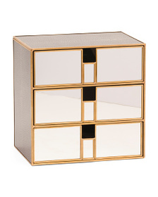 NICOLE MILLER Brass And Mirrored Desktop Cubby