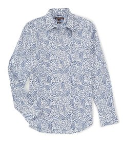 Michael Kors Stretch Paisley Print Long-Sleeve Wov