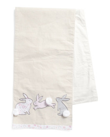 ISAAC MIZRAHI Applique Patch Bunny Table Runner