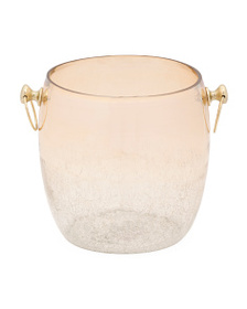 NICOLE MILLER Made In India 8.5in Glass Ice Bucket